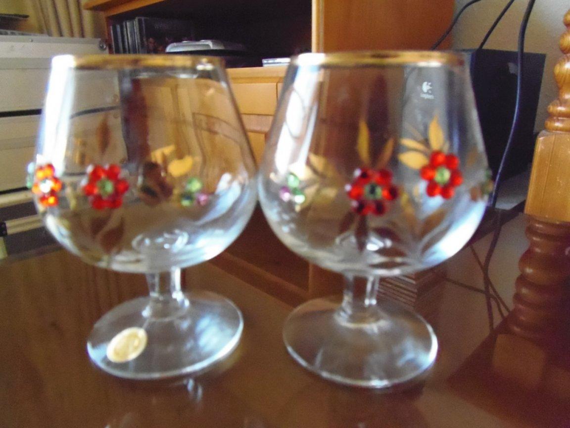 Decorated Brandy Glasses