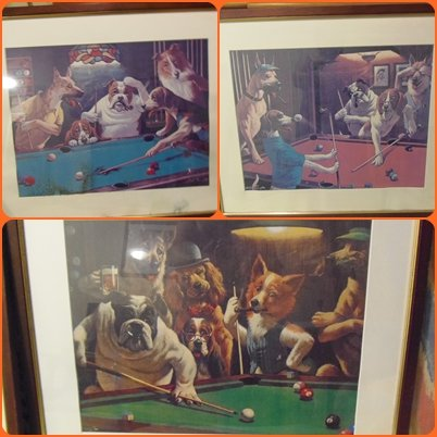 3 Framed Prints of Snooker Playing Dogs